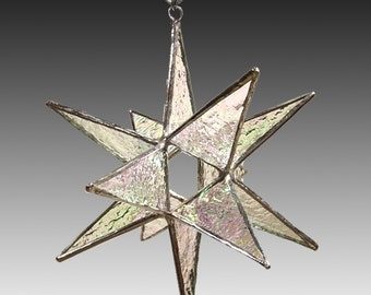 Stained Glass Moravian Star Ornament- 5.5 Inch - Choose your color