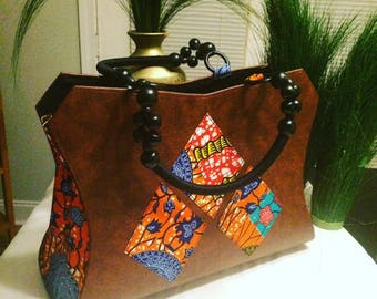 Faux Leather/African Print Hang Bag