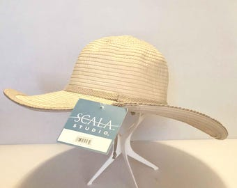 1990s Deadstock SCALA Floppy Sun Hat / Two Tone Beige and Tan Wide Brim Hat / Crushable Packable Vacation Travel Hat / Braided Band and Trim