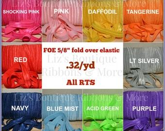 5/8 Fold over elastic -5yds, FOE, Solid FOE, DIY headband, hair ties
