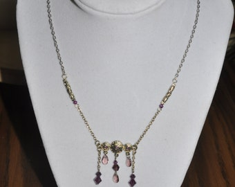 Upcycled Necklace Earrings Set Purple Pink Silver #878 One Of A Kind
