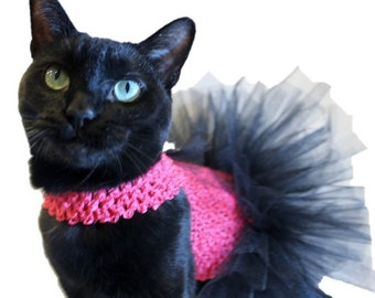 Hot Pink and Black Cat Tutu-Cat Dresses-Cat Tutus-Birthday Dress for Cats-Cat Outfits-Cat Clothes-Cat Dress-Cat Clothing - Clothes for Cats