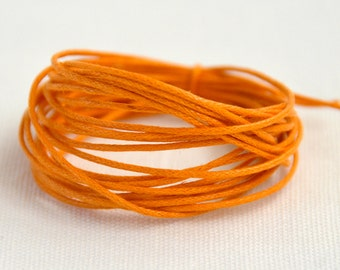 Waxed Cotton String, Cord, 1 mm Orange, 3m length