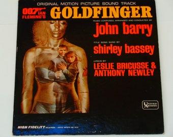 Goldfinger Original Motion Picture Soundtrack - Ian Fleming 007 James Bond - Shirley Bassey - Original Mono UA 1964 - Vinyl LP Record Album