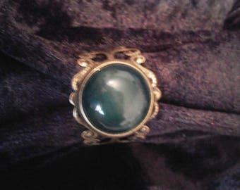 Ring Venezia agate brass blue green