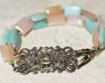 Catholic Bracelet; Catholic Jewelry; Bronze Mother Mary & Amazonite Gemstone Catholic Bracelet; Virgin Mary Bracelet