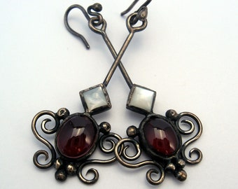 Baroque garnet and mother of pearl earrings in sterling silver with granulation, filigree and patina