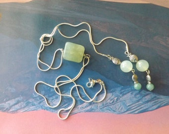 Jade necklace, jade, lariat necklace, nephrite jade, sterling silver,gift for her, sister gift, gift for mother, jade pendant, long necklace