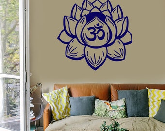 Wall Vinyl Decal Bedroom Decor Yoga Symbol Om Lotus Flower Modern Home Yoga Studio Ornament (#1015da)
