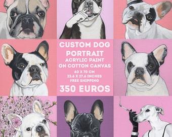 Benutzerdefinierte Hund Portrait / 60 x 70 cm