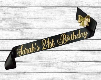 21st Birthday Sash - 21st Birthday - Best Friend Birthday - Custom Glitter Sash - 21 Birthday Sash - 21 Sash - Birthday Sash - Personalized