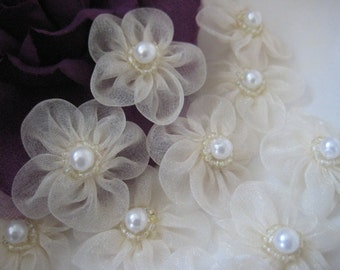 Ivory Organza Flowers Pearl Appliques for Girl Dresses, Sewing, Crafting, Doll Clothes, Doll Shoes, 1.5 inch / 38 mm, 12 pieces