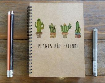 Spiral Notebook/Sketchbook/Kraft Journal/Personalized Journal - Blank paper - Plants Are Friends - 014