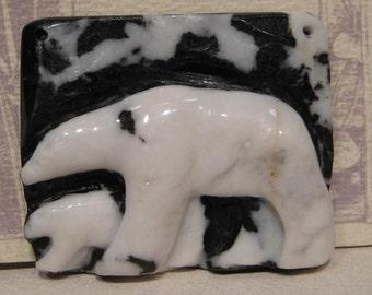 Carved Polar Bear Pendant Bead...... Zebra Jasper ......  53 x 45 x 13 (CPBP)