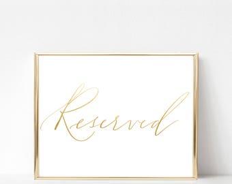 signe réservés · mariage signe · calligraphie moderne signe · événement signe · feuille d'or mariage décoration · calligraphie signe 5 x 7 · 8 x 10 · 11 x 14 · 16 x 20