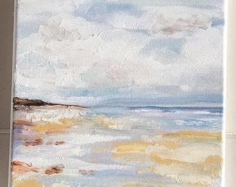 landscape textured sunset oil painting