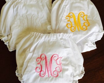 Personalized Baby Bloomers:  Embroidered Monogrammed Diaper Covers