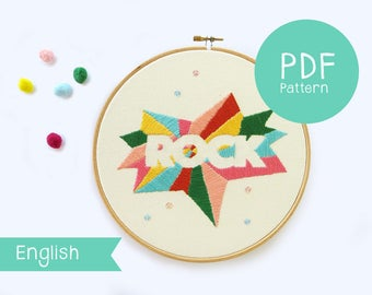 Modern embroidery Pattern PDF by Marta Fofi, Pdf pattern embroidery, Rock embroidery pattern, Embroidery pattern.