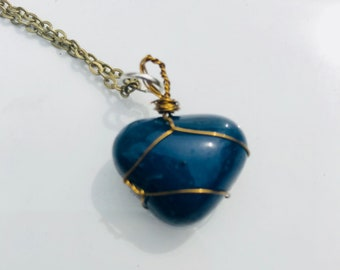 Hand wrapped Blue Lapis necklace