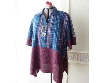 Plus size tunic top, blue burgundy plaid, upcycled 2X shirt, Boho ooak, button down, woven cotton, rayon, sharkbite top