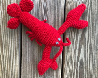 Louis the Lobster - handmade, crochet, toy sea life