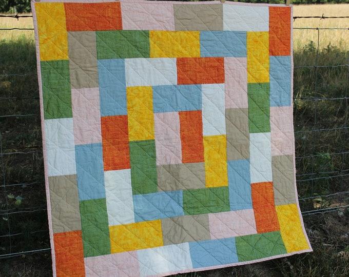 Handmade Modern Patchwork Baby Quilt