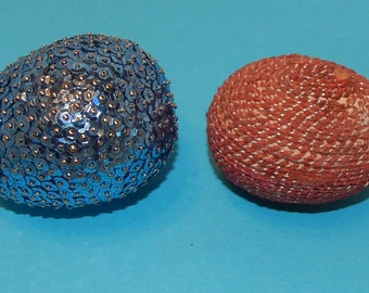 2 Decorated Easter Eggs Blue Sequin Covered Egg and Red with Metallic Silver Covered