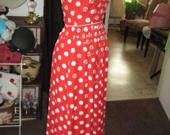 60's Red/White Polka Dot Maxi Dress/Pique Long Dress/Vintage Cotton Maxi Dress