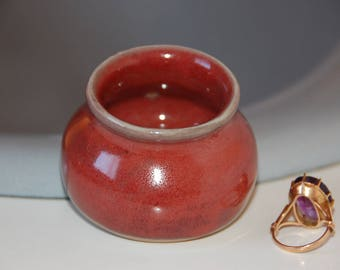 Ring Keeper Small Jar Tiny Bottle Ring Dish in Red