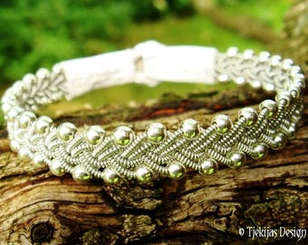 Swedish Viking Bracelet RIMFAXE Sami Bracelet with Sterling silver Beads, Pewter Braid and White Leather