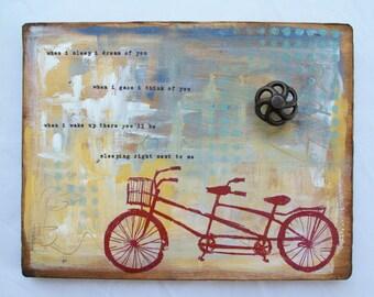 Wood art, Red tandem bike, Wedding gift, Gift of love, Bicycle original art on wood
