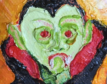 Count Dracula Halloween mini 2x2 Original Impasto Oil Painting by Paris Wyatt Llanso