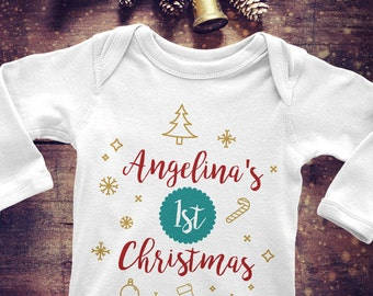 Babys first christmas onesie etsy first christmas onesie babys first christmas onesie holiday onesie personalized with any name negle Image collections