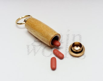 Wood Key Chain - Deluxe Pill Holder - Yellowheart with 10kt Gold Accents (Gift Ready)