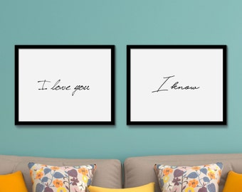Star Wars Printable poster Instant Download I love you I Know