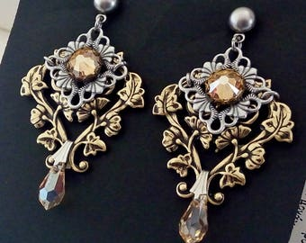 Clothing Gift Victorian Gothic Earrings Swarovski Golden Shadow Post Earrings Victorian Gothic Jewelry