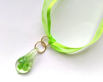 Glow in Dark Glass Floral Pendant, Magical Green Flower, Light Lime Green, Green silk Organza and cotton ribbon Necklace by enchantedbeas