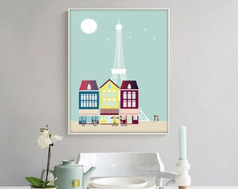 Paris print,4 SIZES INCLUDED, poster Paris, wall art deco, living room, coffee, tea, nursery, eiffel tower, colourful art print, city print
