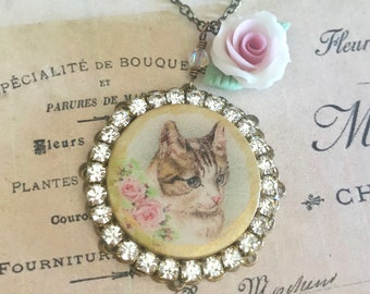 shabby chic kitty cat assemblage necklace with Swarovski crystals handmade porcelain rose and beads #1078-16