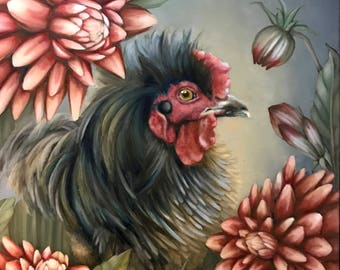 """Set of 3 blank artist greeting cards with envelopes: """"Pandora"""" (Sizzle / Frizzled Satin rooster, dahlia flowers art)"""