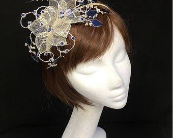 Silber Marine Fascinator, Mutter der Braut, Sommer-Hochzeit, Hochzeit Hut, silberne Tiara, maßgeschneiderte Diadem