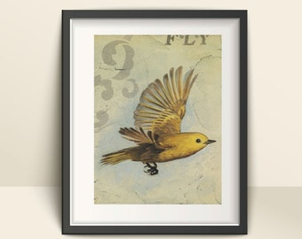 What if you Fly, Ready to Frame Art Print, Modern Farmhouse Bird Decor on Paper, Grey and Yellow Bird Prints