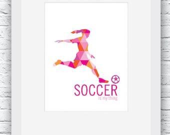 Soccer girl wall art | Etsy