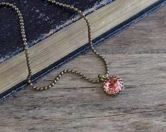 Rose peach swarovski crystal necklace, Blush pink crystal jewelry, Minimal necklace, Tiny pendant, Romantic gift for her, Brass jewelry