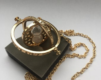 Harry Potter Inspired Hermione Granger's time turner Rotating Hourglass Gold Necklace