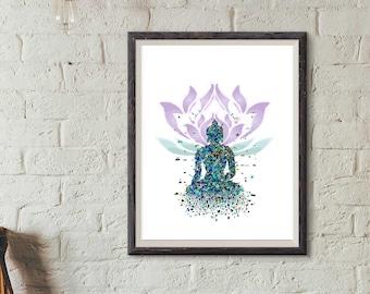Buddha Art,Printable Art, Lotus Art, Meditation Art, DIGITAL ART, DOWNLOAD, Peaceful Art, Energy Art, Original Art, Yoga Art