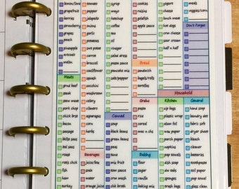 DASHBOARD Grocery List Double Sided for use with the MINI Happy Planner