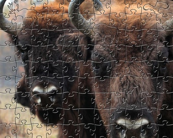 Bison Zen Puzzle - Hand crafted, eco-friendly, American made artisanal wooden jigsaw puzzle