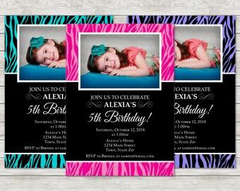 Zebra Girl Birthday Invitation, Diva Pink, Turquoise or Purple Invitation - Digital File (Printing Services Available)