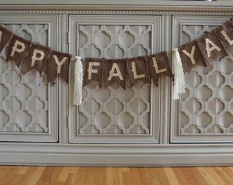 Happy Fall Banner, Fall Banner, Burlap Fall Banner, Rustic Fall Decor, Fall Decor, Happy Fall Y'all